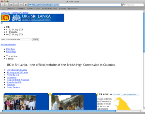 British High Commission website on Safari