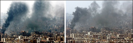 This two-photo combination made available Monday, Aug. 7, 2006 by the Reuters news agency, shows an Aug. 5, 2006 photograph of smoke rising from burning buildings after an Israeli air strike on the suburbs of Beirut by Beirut-based Reuters freelance photographer Adnan Hajj. Reuters on Sunday, Aug.6 withdrew the image after evidence emerged that it was manipulated to show more smoke. The manipulated image is shown on the left. The unaltered image, shown on the right, has since run. Reuters has told the photographer, freelance Adnan Hajj, that the agency will not use any more of his pictures. (AP Photo/Adnan Hajj, Reuters)
