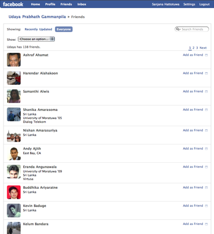 Udaya's Facebook profile
