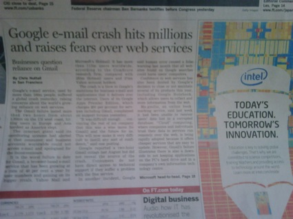 USA Today reporting the Gmail crash on 25 February 2009